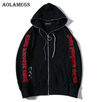 Aolamegs Hoodies Men Side Letter Print Hoody Pullover Zipper High Street Fashion Hip Hop Streetwear Tracksuit