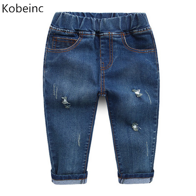 Children Clothing Elastic Waist Long Jeans Pants for Boy Ripped Hole Jeans Fashion 2017 Spring Pockets Denim Pant Kids Trousers