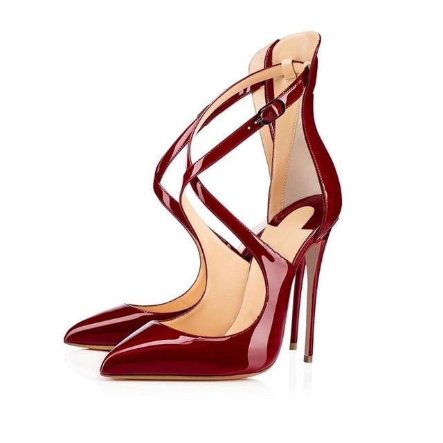 En Cm Verni As Pointu D'été Chaussures Mince Croix De Sangle Cuir Femmes The Picture Sandales Rouge Pompes Talons Hauts Th 12 Bout Noir as qFxwnaUUz