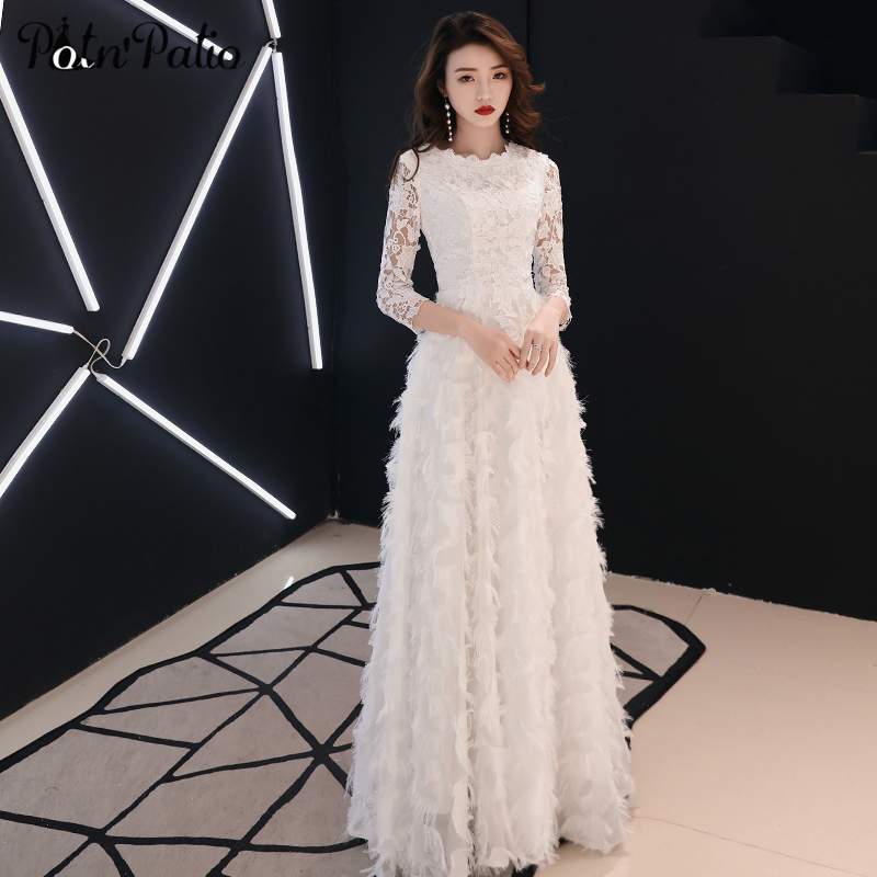 White Lace Feathers Long Evening Dress for Women Elegant O neck 3 4 Sleeve Floor Length