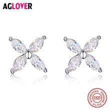 купить Fashion Jewelry Silver 925 Stud Earrings Lucky Clover Flower Sweetheart Accessories Wedding Earring Women дешево
