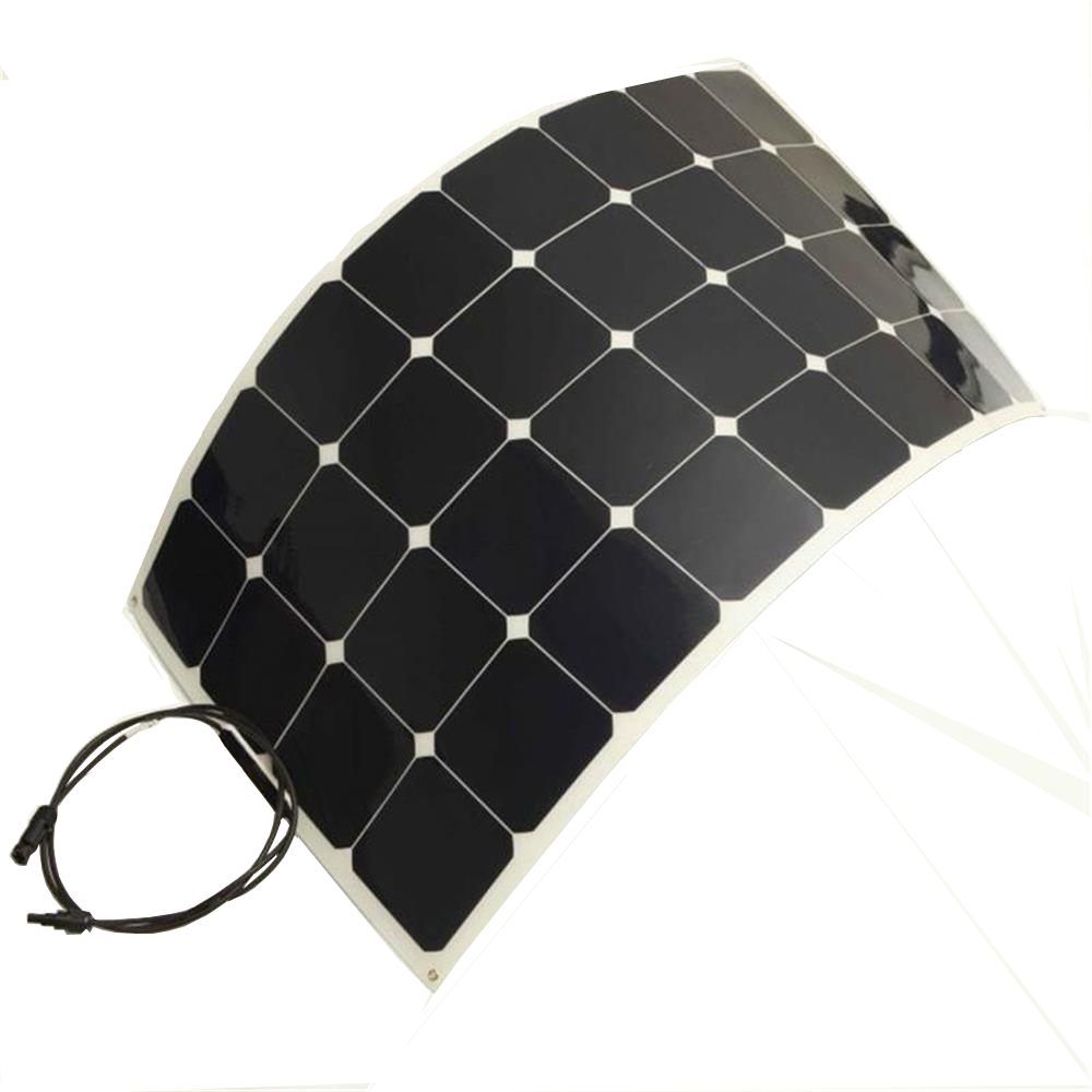 Solarparts 1pcs 100W 12V PV flexible solar panel cell  panel module fishing boat battery charger pump light home camper RV phone battery charger 100w