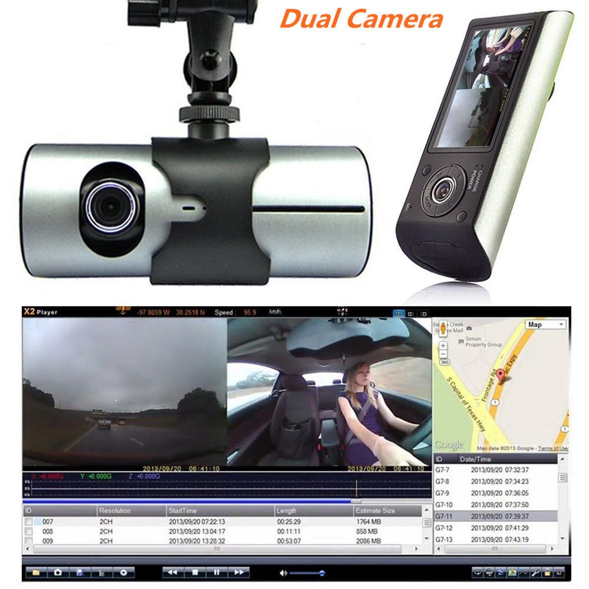 Coche DVR Cámara Dual Sensor de gravedad Gps Tracker soporte Google Maps en revisión 2,7