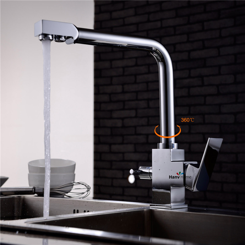 high quality 100 brass chrome polished 3 Way hot cold kitchen sink mixer faucet 2 holes