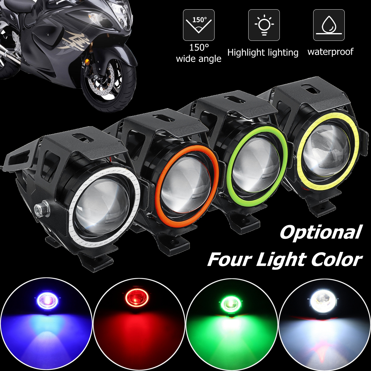 Motorcycle U7 Spot Driving Led Headlight 125w 150 degree wide angle + switch 2800lm Strobe Fog