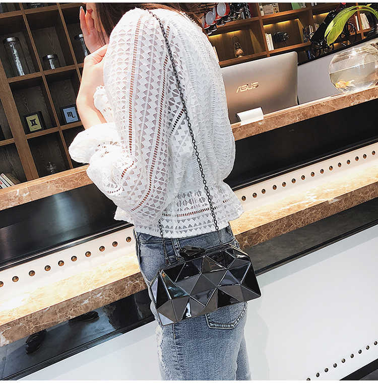 ea4e46de07 Fashion Geometric Metal Clutch Evening Bag Women's Pouch Messenger Bags  Chain Shoulder Purse Box Wallets Luxury Handbags Pouch