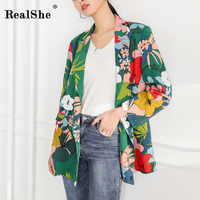 RealShe 2018 New Autumn Women Floral Print Blazer Fashion Sashes Split Long Sleeve Jackets Elegant Fashion Blazers Feminino