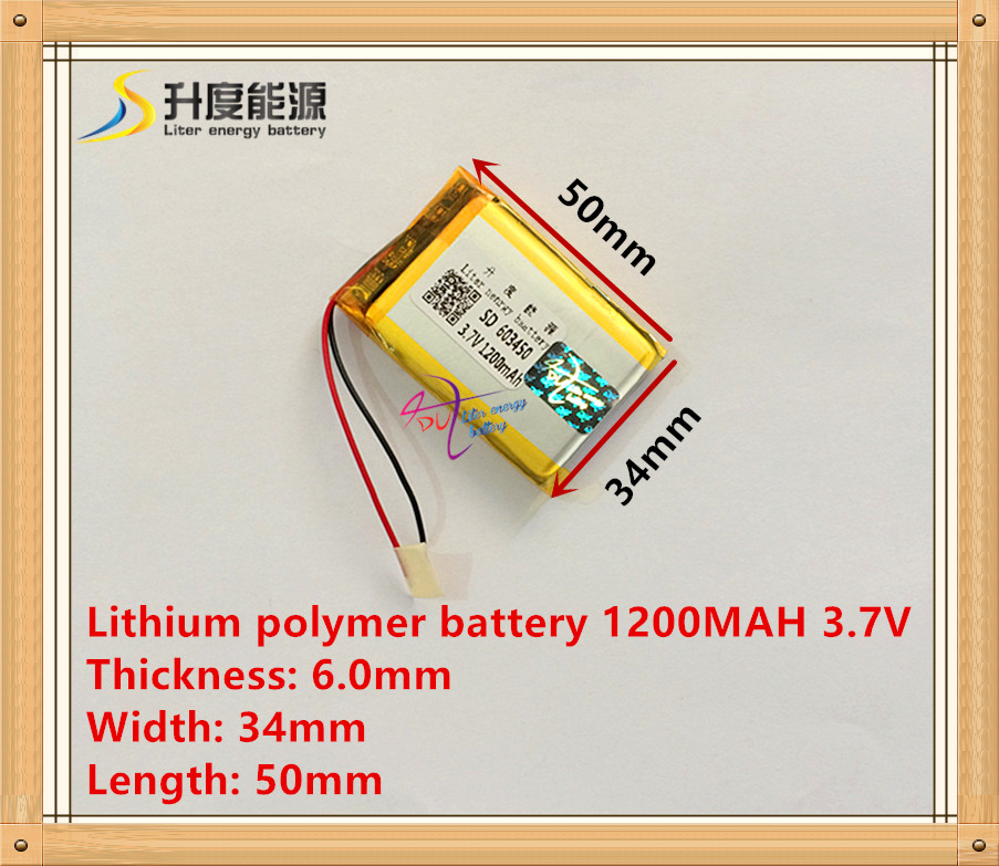 li-polymer rechargeable battery 3.7V 603450 Lithium polymer battery 1200mAh 063450 ( size: 6*34*50mm) 15000mah external rechargeable lithium polymer battery dc 12 6v