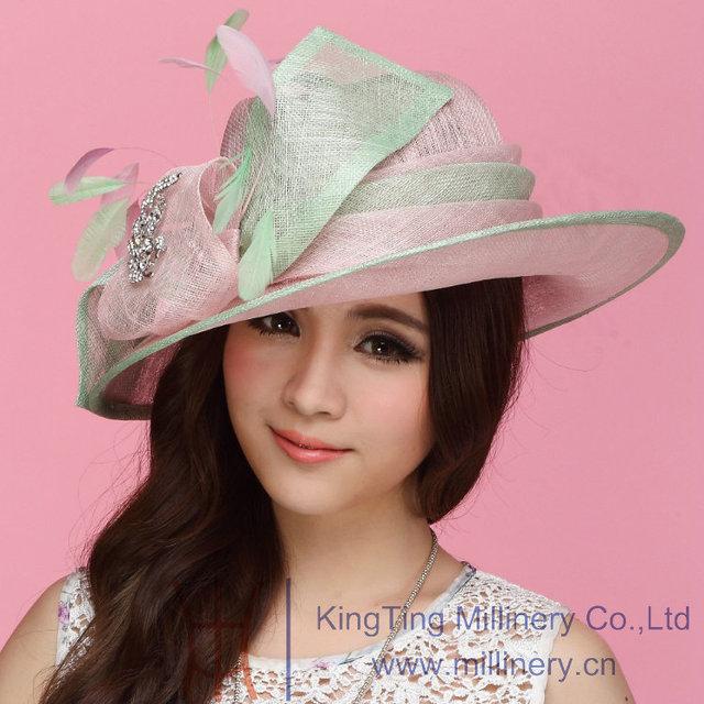 Envío gratis mujeres de moda sombreros sombreros para para Sinamay sombrero Sinamay arco mujeres sol Shading hermoso moda sol de verano dos tonos de colores