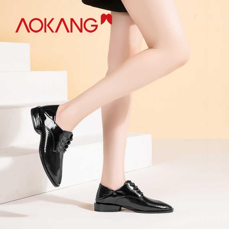 AOKANG รองเท้าผู้หญิง oxford รองเท้า laces loafers ผู้หญิงรองเท้าอย่างเป็นทางการปั๊มลูกไม้ขึ้นชุดผู้หญิงฤดูร้อนคุณภาพสูงรองเท้า