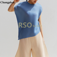 Changpleat 2019 Summer New Women Loose T shirts Tide Miyak Pleated original designer Tees Solid O neck Short Sleeve T shirt Tide