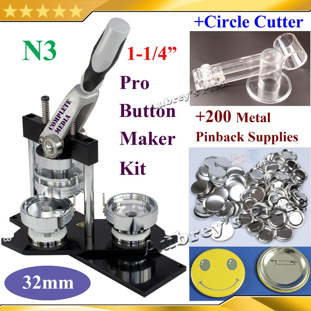 NEW Pro N3 1 1 4 32mm Badge Button Maker Machine Adjustable Circle Cutter 200 Sets