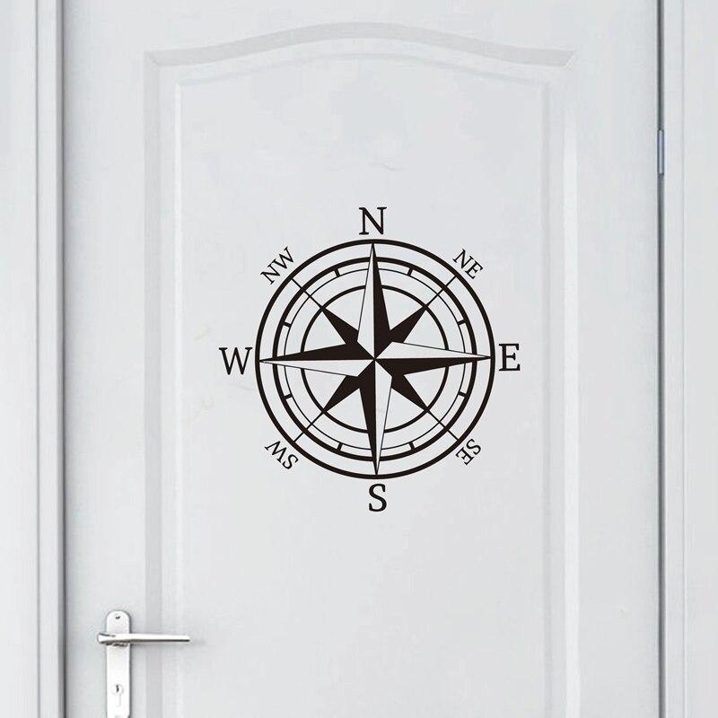 Nautical Compass Wall Decal Compass Rose Navigate Vinyl Sticker Nature Art Ship Ocean Sea Wall Decor(China)