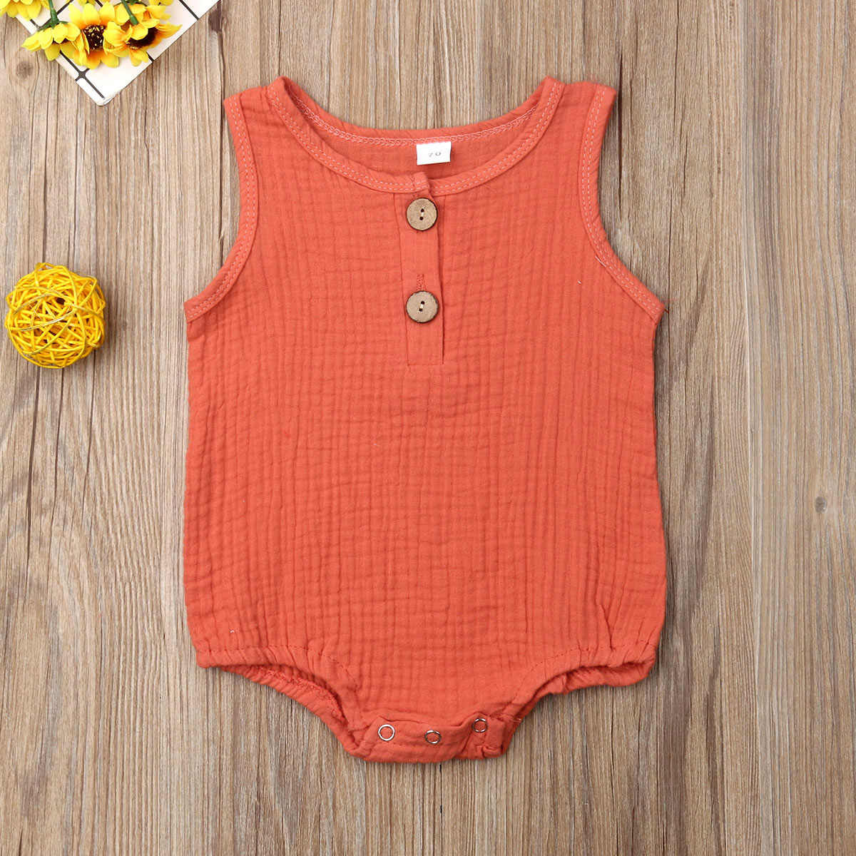 2019 Baby Summer Clothing Newborn Baby Boy Girl Kid Cotton Bodysuit Sleeveless Solid Color Jumpsuit Outfit Clothes Tops
