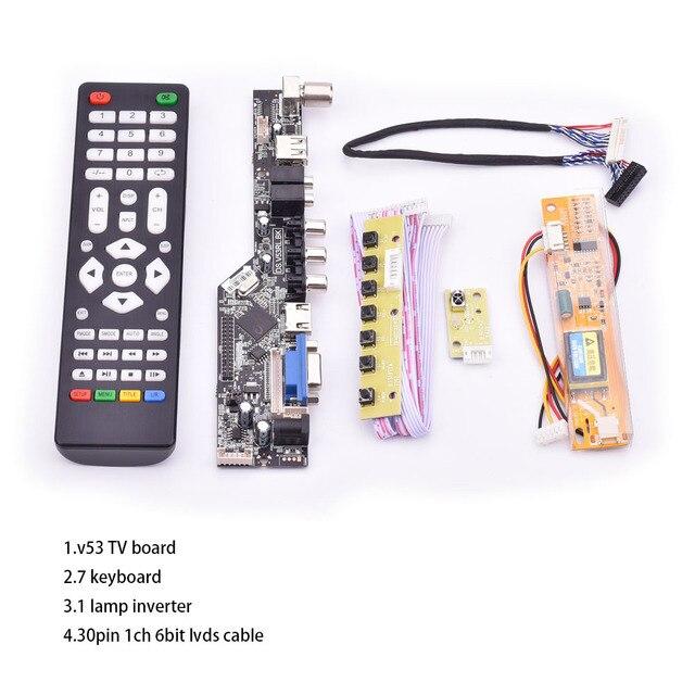 V53 evrensel TV lcd kontrol panosu 10 42 inç lvds sürücü panosu TV VGA AV HDMI USB DS.V53RL.BK tam kiti için LTN154AT01