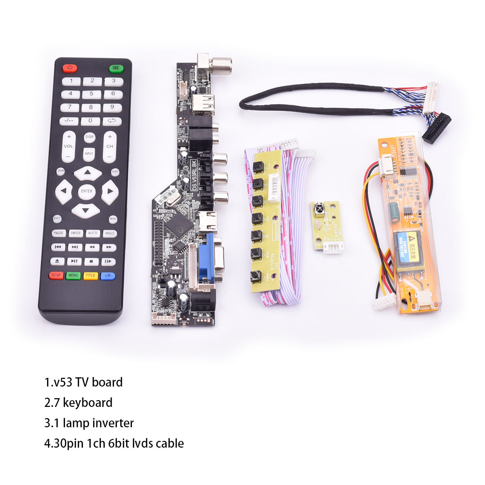 V53 universal <font><b>TV</b></font> <font><b>lcd</b></font> control <font><b>board</b></font> 10-42inch lvds driver <font><b>board</b></font> <font><b>TV</b></font> <font><b>VGA</b></font> <font><b>AV</b></font> <font><b>HDMI</b></font> <font><b>USB</b></font> DS.V53RL.BK full kit for LTN154AT01 image