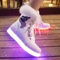 DoGeek Женщины LED Обувь Зима Световой Обувь 7 Цвета Light up женщины Лодыжки Сапоги Фокс Шаблон Меховые Теплые Ботинки Снега EUR размер 35-41