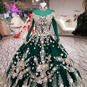 Image 4 - Vestidos de novia AIJINGYU 2021 2020, vestido moderno de lujo con mangas, vestidos de novia de encaje de América a la venta, vestido de boda de compromiso