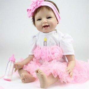 Image 1 - 55cm Reborn bebek bebekler vinil silikon gerçekçi canlı yumuşak bebekler Toddler yenidoğan oyuncak çocuklar erkek kız doğum günü noel hediyesi