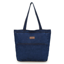 купить Women Denim Tote Ladies Casual Solid Color Shoulder Bag High Capacity Foldable Reusable Women Beach Bag по цене 864.58 рублей