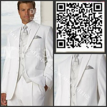 2018 vestidos de festa Two buttons Notch Lapel White Groom Tuxedos Groomsmen Men's Wedding Suits Best man Suits/men prom suits