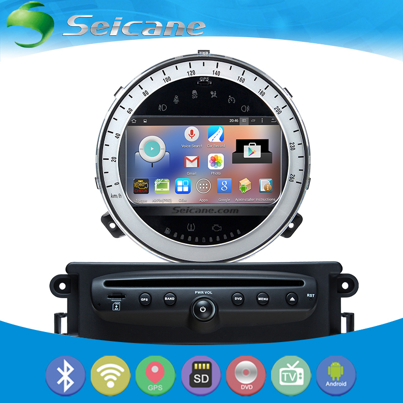 Seicane Android 4.4.4 GPS Navigation for 2006-2013 BMW Mini Cooper Car Radio DVD with 1024*600 Bluetooth steering-wheel control