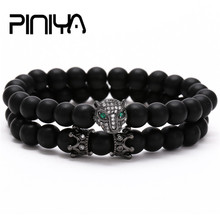 Natural Black Matte Stone Bead Couple Bracelets 2pcs/set Mens Women CZ Leopard & King Crown Charm Sets For