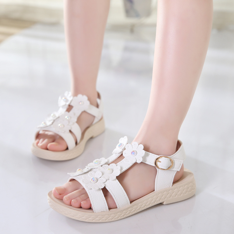 Sandals For Girls New Style Fashion School Girl Sandals Princess Teenager Girls  Flower Summer Nubuck Dancing shoes PU Shoe-in Sandals from Mother   Kids on  ... d3579db351f3