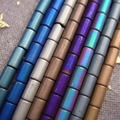 NEW  3x5mm 230pcs/lot blue rainbow silver coppery green purple matte Hematite tube stone Loose Beads Free Shipping