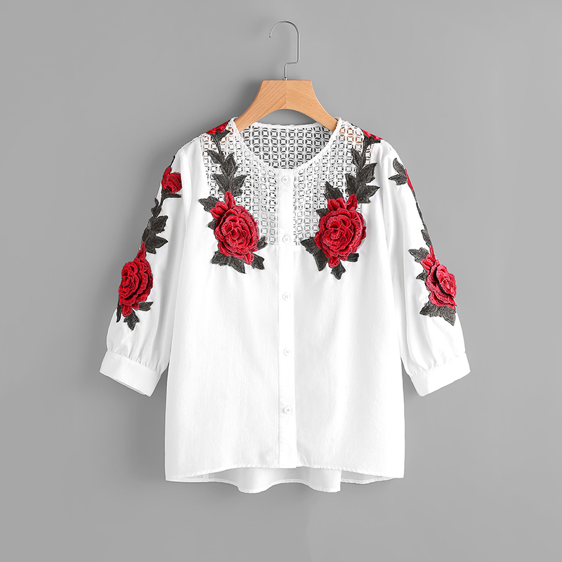 2019 Embroidered Lace Blouse Women Autumn Hollow Out White Shirts Fashion Lady Long Sleeve Rose Floral Tops
