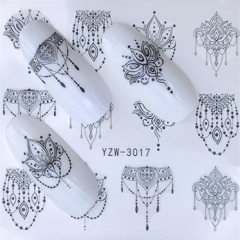 1 Pc Semplice Nero Artistico Stencil Unghie Artistiche di Trasferimento Dell'acqua Autoadesivo Gel Polish Pieno Decorazione per Le Unghie Strumento