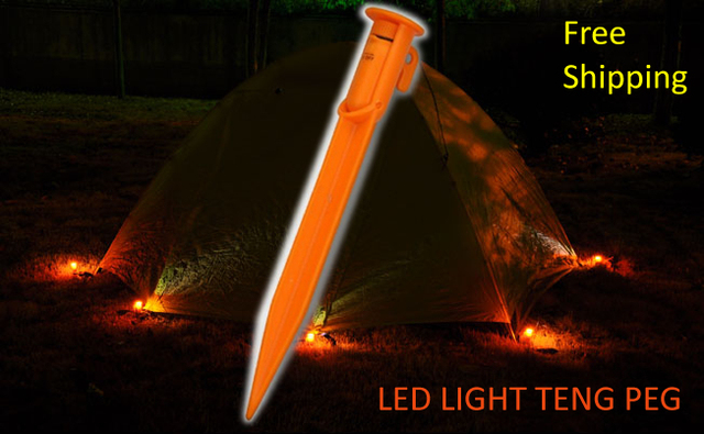 Free Shipping 5pcs 18cm Strong Long Plastic LED Light Ground Pegs Tent Accessories Camping Heavy Duty Awning Stakes Spikes B407