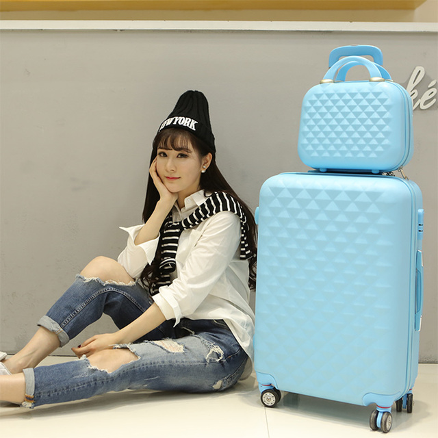 c9c1f5b17 Wholesale!14 24inch(2 pieces/set) pink purple yellow mint green diamond  type abs hardside case travel trolley luggage for girl