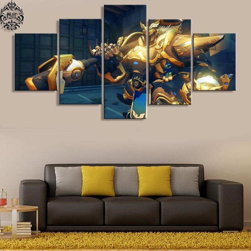 Moderní nástěnná malba na stěně 5 panelů herních plakátů Overwatch Reinhardt Obrazy na plátně Domácí výzdoba pro obývací pokoj Umělecká díla
