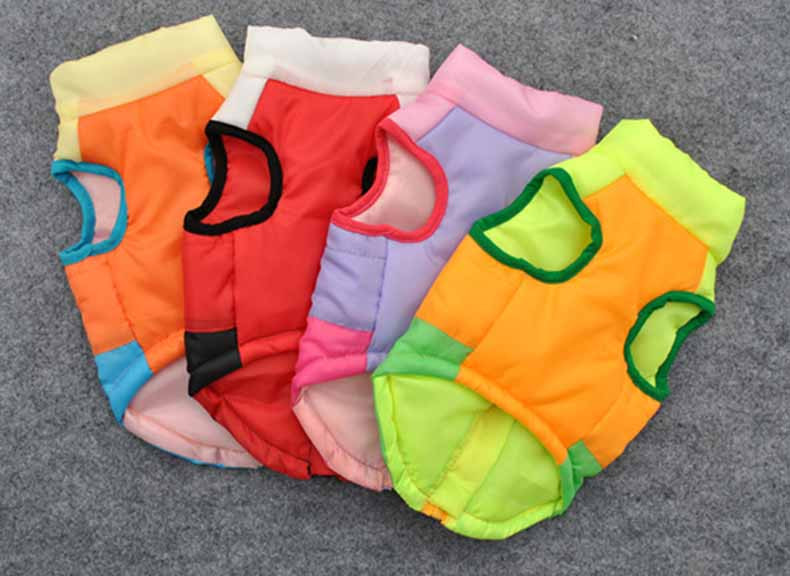 Popular Color Blocking Pet Apparel Dog Clothes Winter Puppy Dogs Vest Cotton-padded Jacket Coat for Chihuahua Teddy Poodle11