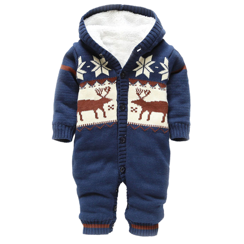 HOT SALE Baby Rompers Winter Thick Climbing Clothes Newborn Boys Girls Warm Romper Knitted Sweater Christmas Deer Hooded Outwe iyeal winter baby rompers thick baby clothes newborn boys girls warm romper knitted sweater christmas deer hooded outwear