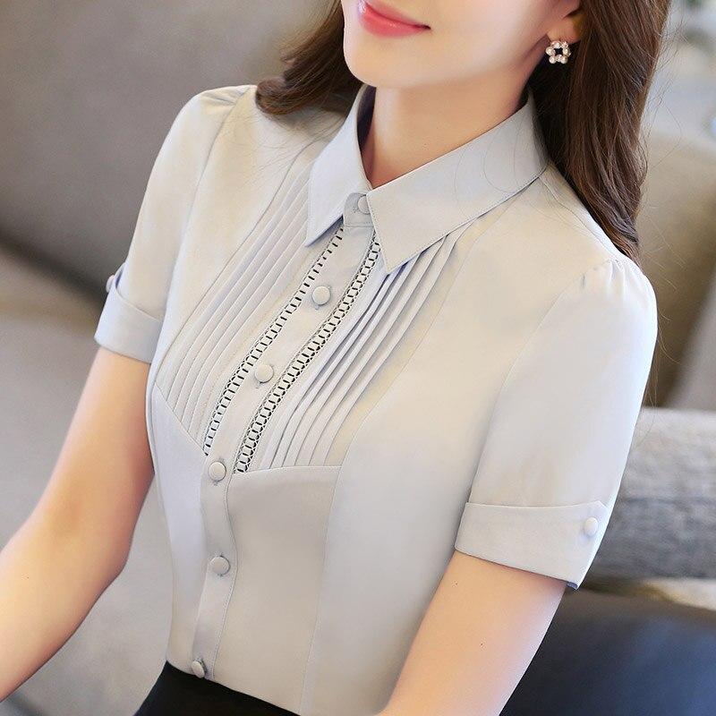 S-5XL Neue frauen Weißes Hemd Sommer 2019 Mode Büro Dame Kurzhülse - Damenbekleidung - Foto 1