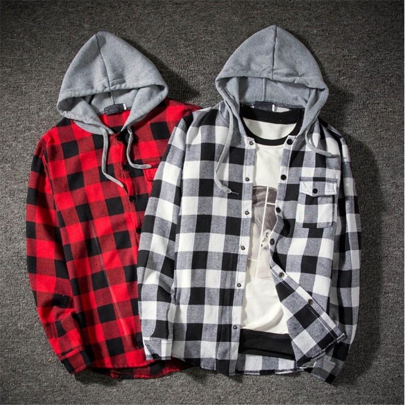 Casual Plaid Shirts Hooded  2