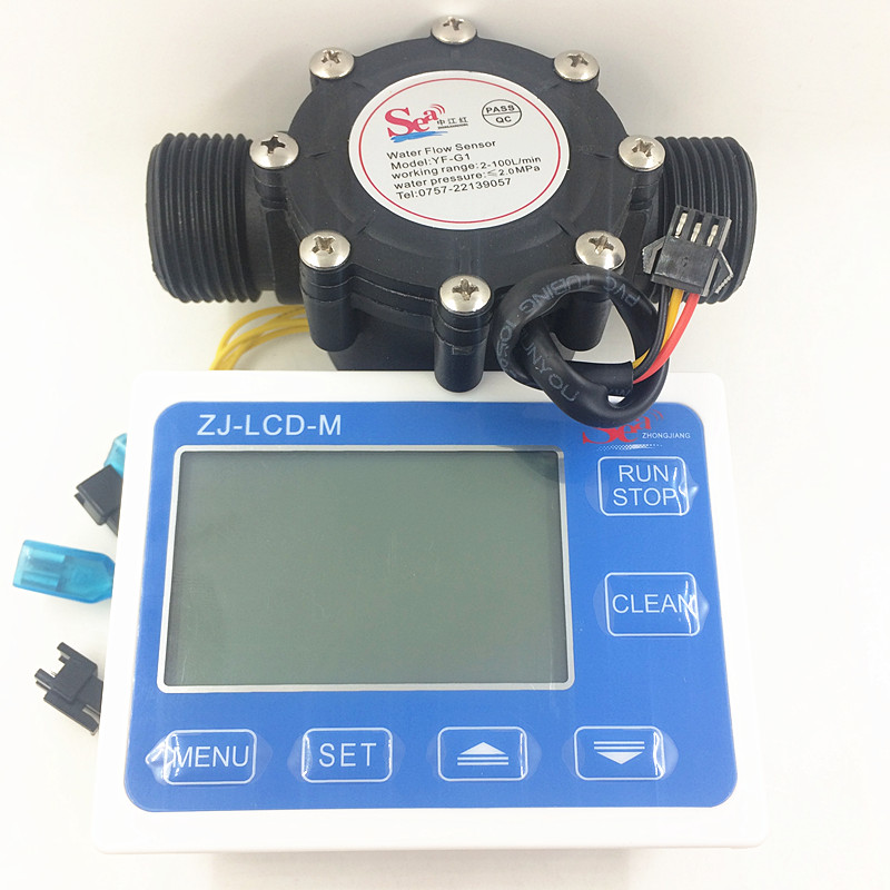 Water FuelFlow Meter Sensor Hall heater Water Flowmeter Counter Indicator pipe DN25 G1 Flow range 2-100L/min+ LCD dispaly screen us208mt flow totalizer usn hs10pa 0 5 10l min 10mm od flow meter and alarmer totalizer frequency counter hall water flow sensor