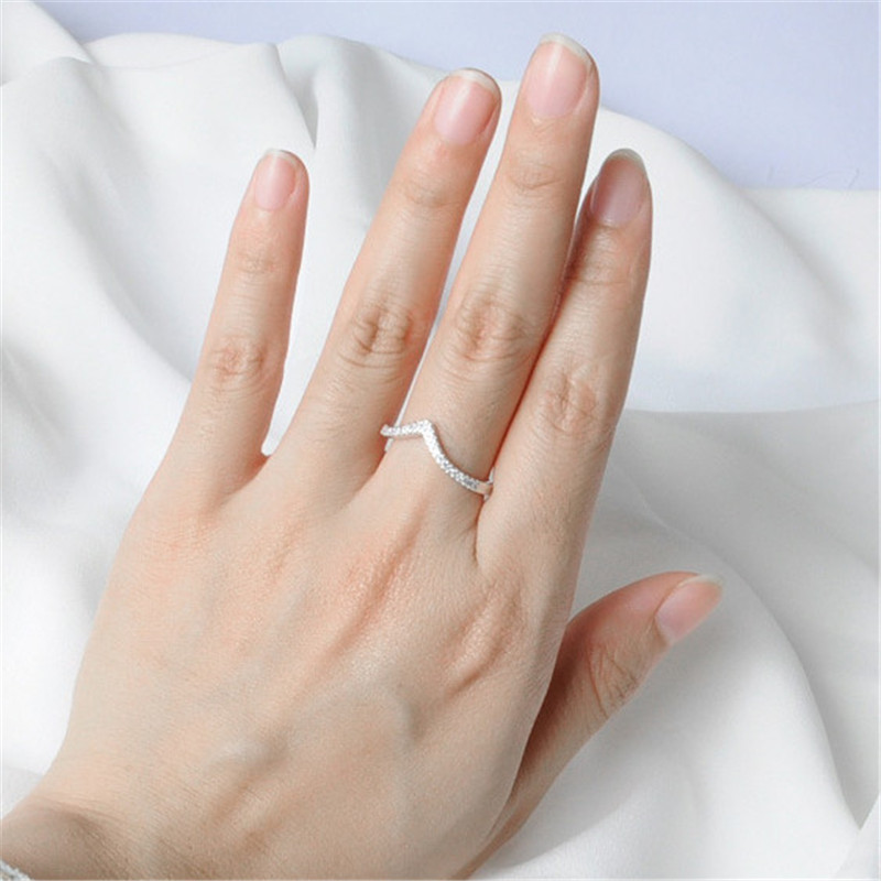 92 5 micro setting V shape customized available DIY silver ring for women silver 925 jewelry rings in Rings from Jewelry Accessories
