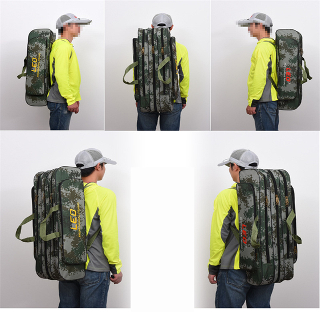 2018 Digital Camouflage Fishing Bags 600D Canvas 2/3 layer 80/90cm Fishing Rod Kit Tackle Boxes Multi-Purpose Fishing Gear Bags 5