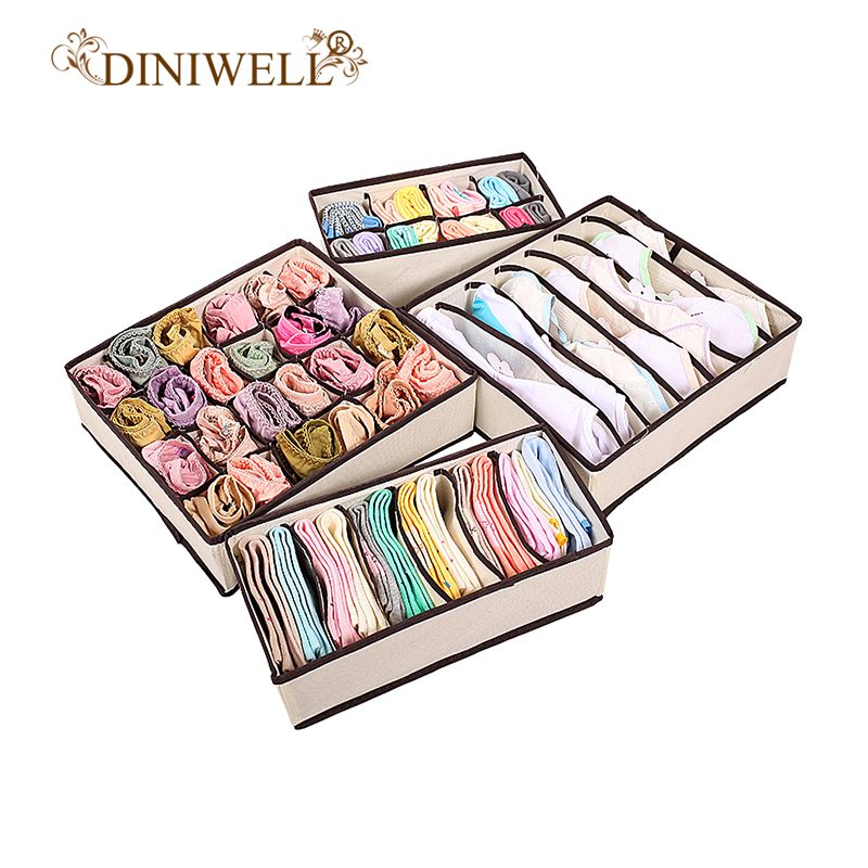 DINIWELL Home Storage Boxes For Ties Socks Shorts Bra Underwear Divider Drawer Lidded Closet Organizer Ropa Interior Organizador(China)