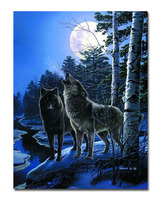 Moonlight Animal Pop Wolf Printed Oil Painting On Canvas Wall Art Prints Picture For Living Room