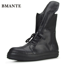 Из натуральной кожи Модная Повседневная Брендовая обувь черный мужской Hightop теннис Tall bambas Бибер высокие кроссовки обуви красовки для мужчин