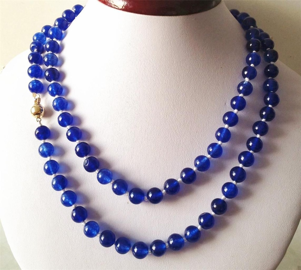 2017 Beautiful Blue 8MM Chalcedony Beads Necklace Rope Chain Beads