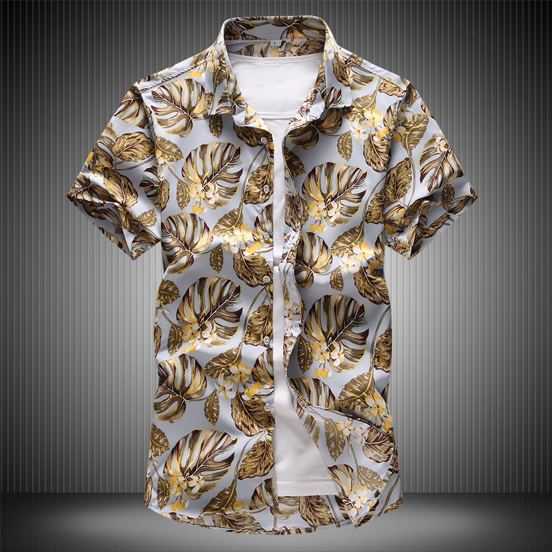 High Quality Gold Shirt 7XL 2019 Summer Men's Hawaiian Floral Shirts Short Sleeve Casual Shirt Great Printing Design 6910