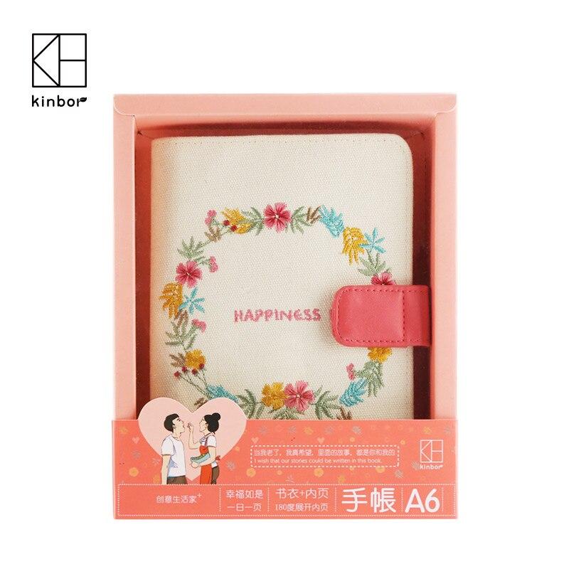 Kinbt A6 романтическая пара блокнот Набор Счастье Дневник ткань вышивка записная книжка Обложка милые канцелярские принадлежности подарок на