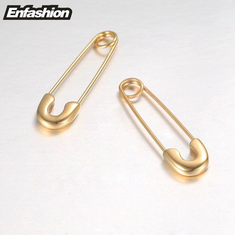 Fashion Safety Pin Long kõrvarõngad roosa kuldvärv kõrvarõngad - Mood ehteid - Foto 3
