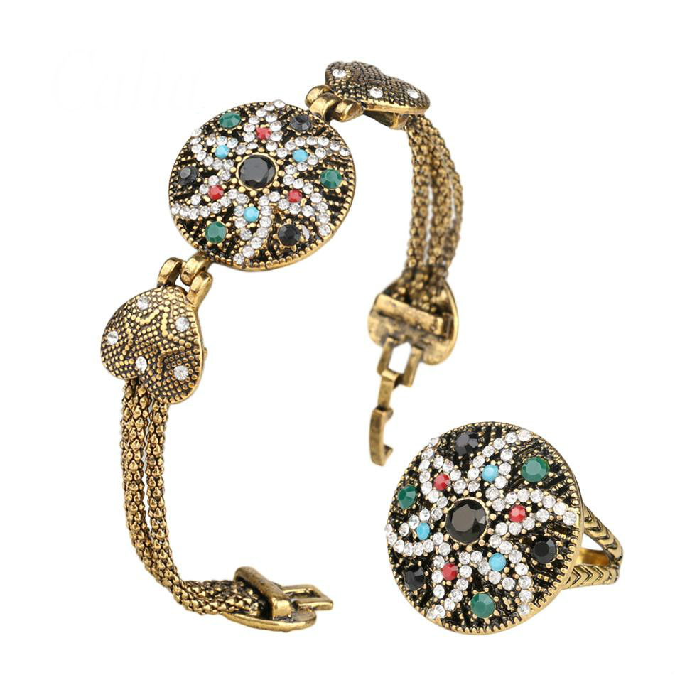 2016 Fashion Vintage Look White Crystal Colorful Resin Starfish Shape Gold Jewelry Set <font><b>Indian</b></font> <font><b>Bracelet</b></font> <font><b>Ring</b></font> For Women image