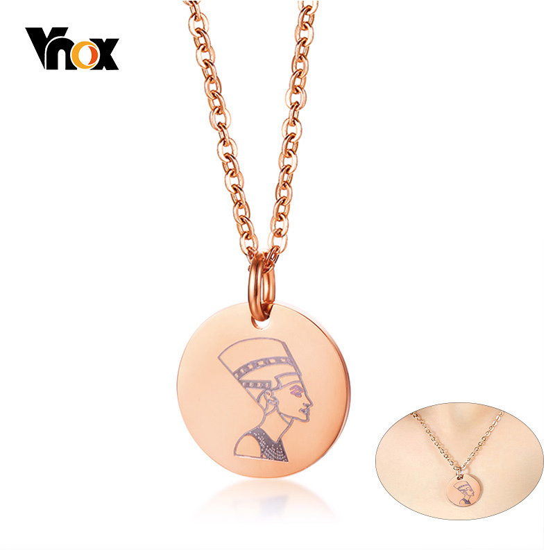 Vnox Elegant Women's Nefertiti Necklace Pink Gold Tone Stainless Steel Coin Choker Necklaces collar Gifts Chain 17.71-19.29